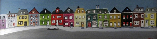 Newfound Land 1-City Streets Acrylic on Board (9x34} Framed $200