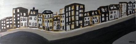 Newfound Land 2-City Streets Acrylic on Board (9x34} Framed $200