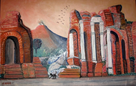 Sicily-Ampitheatre-Taormina-Oil on Canvas-Italian Frame included-(23.5X36)-$1,000 Unframed-$800