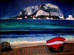 Red Boat, Mondello Beach, Sicily - Oil on Canvas (23.5X29.5) NFS
