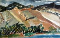 Sierra Maestra-Watercolor on Paper - Framed-(5.5X8)-$150