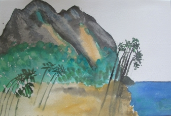 St. Lucia-Castries Watercolour on Paper-Framed-(6.5X9.5)-$100