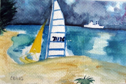 USA-Florida-Watercolour Sketch on Paper-Framed-(5X8)-$50