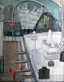 USA-New York-December 1 After 9-11 Acrylic on Board-Framed-(20X15.5)-$650
