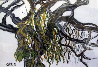 USA-Savannah-Boulevard Tree-Watercolour on Paper-Framed-(6.5X9.5)-$60