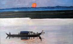 Vietnam-Fishin on Themekong River-Acrylic on Board-Framed-(13X21)-$550