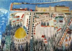 View of Bahai Temple From Dan Carmel Hotel-Haifa-Acrylic on Paper-Framed on Board-(24.5X33)-$1,200