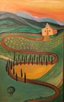 Tuscan Chapel, Tuscany, Italy - Oil on Canvas (42.5X27.5)
